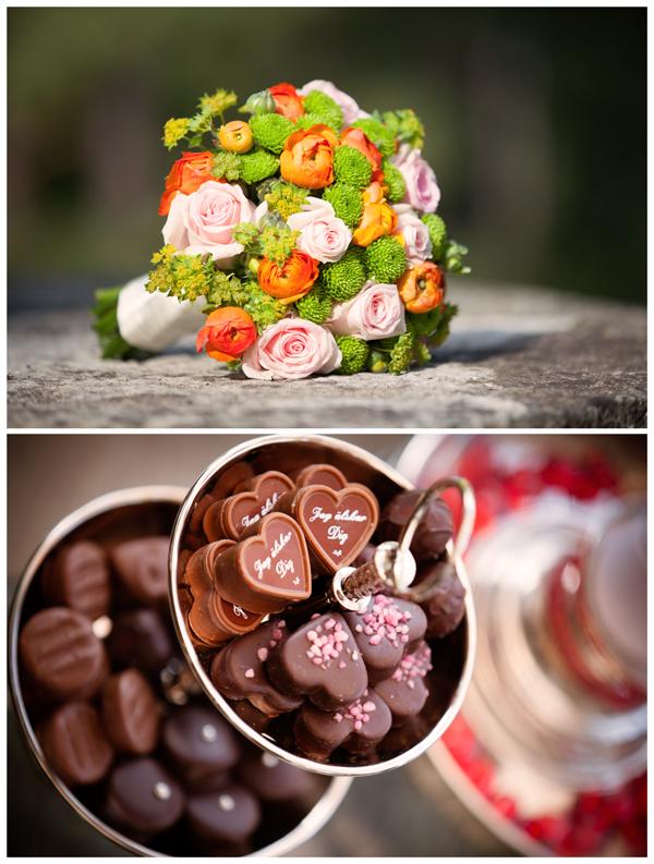 Bröllopsbukett och choklad